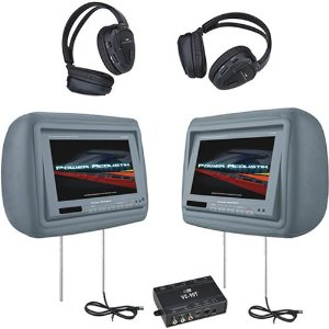 Power Acoustik HD-88GR 8.8-Inch Pre-Loaded Universal Headrest Monitors with 2 RF Headpones (Gray)