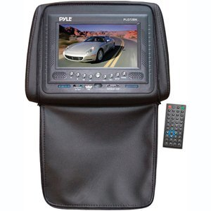 PYLE PLD72BK Adjustable Headrests w/ Built-In 7'' TFT/LCD Monitor w/ Built in DVD Player & IR/FM Transmitter With Cover (Black)