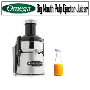 Omega BMJ330 Big Mouth Pulp Ejector Juicer And Prodyne 56 Oz. Acrylic Juice Jar With White Lid