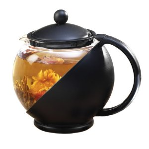 Primula Black 40-Ounce Teapot Set with Loose Tea Infuser and 3 Flowering Green Teas