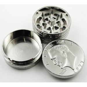 Silver Dollar Herb Grinder With Pollen Catcher #2