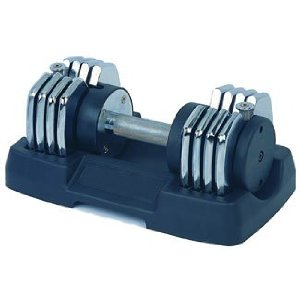 1x50lb Bayou Adjustable Dumbbell - Quality Chrome Plated Steel - 5 in 1 weight adjustments!