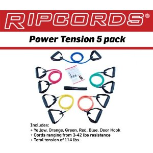 RIPCORDS Resistance Bands - Power Tension 5 Pack (without DVD)
