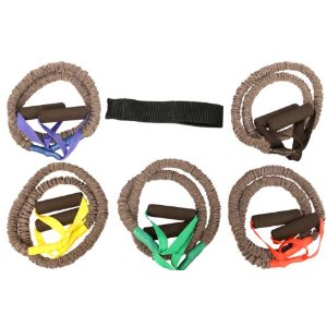 New Set of 5 High Quality Covered Resistance Bands with Door Anchor Great for Exercise