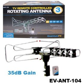 QuantumFx ANT-104 Digital TV & HD / HDTV Compatible DTV / VHF / UHF / FM Radio Remote Controlled 360° Rotating TV Antenna (Installation Kit included)