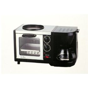 SLYTech E100P 3 in 1 Oven Toaster, Egg Frying & 2 to 4 Cups Coffeemaker Breakfast Maker