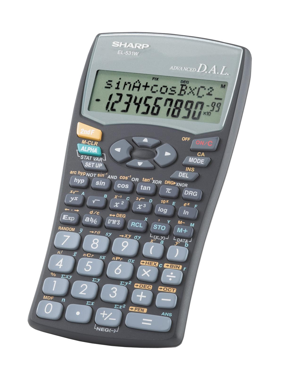 Sharp el531wbbk scientific calculator alphanumeric display