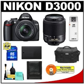 Nikon D3000 10MP Digital SLR Camera with 18-55mm f/3.5-5.6G AF-S DX VR Nikkor Zoom Lens & 55-200mm DX Zoom Lens with 8GB Card + EN-EL9a Battery + Nikon Gadget Bag + Accessory Kit