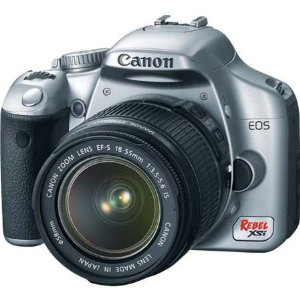 Canon EOS Digital Rebel XSi SLR Camera Body Kit - Silver - with EF-S 18-55mm f/3.5-5.6 Image Stabilizer Lens - Refurbished