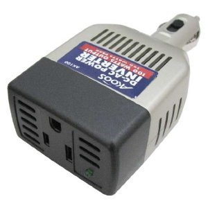 Akoos AK100 12 Volt Compact Power Inverter plugs into Auto Cigarette Lighter for Cell Phones and Laptops.