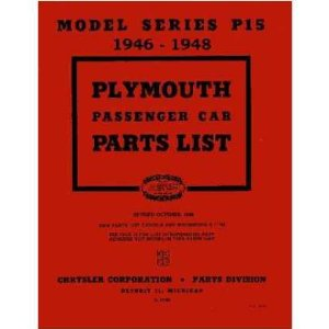 1946 1947 1948 PLYMOUTH Parts Book List Guide Catalog