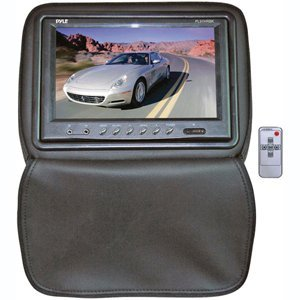 PYLE PL91HRBK Adjustable Headrests w/ Built-In 9'' TFT/LCD Monitor W/IR Transmitter & Cover (Black)