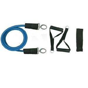 New Blue Stackable Exercise Resistance Band Tube Cords w/ free Door Anchor and Exercise Manual (Heavy). Perfect for use with p90x, slimin6, insanity, crossfit, pilates and physical therapy