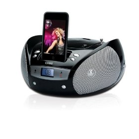 Coby Portable CD Player with AM/FM Radio and iPod Docking (Black)