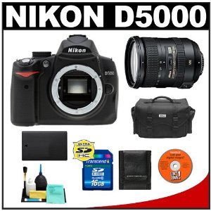 Nikon D5000 Digital SLR Camera Body with Nikon 18-200mm VR II DX AF-S Zoom Lens + 16GB Memory Card + Spare EN-EL9 Battery + Case + Cameta Bonus Accessory Kit