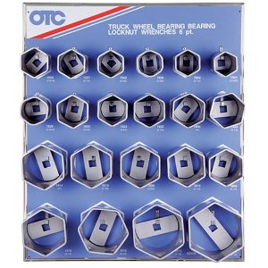 OTC 9850 6 Point Truck Wheel Bearing Locknut Display with 6 Point Sockets