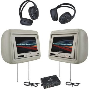 Power Acoustik HD-88BG 8.8-Inch Pre-Loaded Universal Headrest Monitors with 2 RF Headpones (Beige)