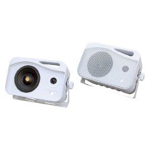 Pyle - PLMR26; 5'' 500 Watt 3-Way Weather Proof Mini Box System (White)