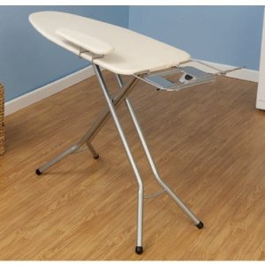 Ironing Board Mega (49x18) w Sleeve Board & Iron Rest Satin Silver - Household Essentials #671840