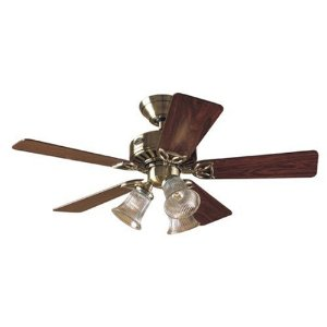 Hunter 20430 Beacon Hill Three-Light 42-Inch Five-Blade Ceiling Fan, Antique Brass with Clear Globes