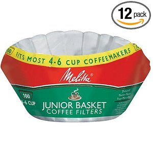 Melitta Basket Coffee Filters, Jr. White (4 to 6-Cup), 200-Count Filters (Pack of 12)