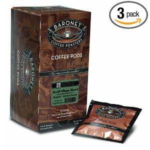 Baronet Coffee Fair Trade Organic Small Village Blend Mega Coffee Pods, 16-Count Box (Pack of 3)