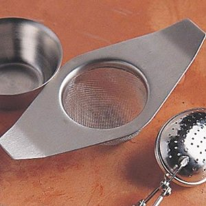 Stainless Steel Italian Espress Tea Mesh Strainer w/ Drip Cup