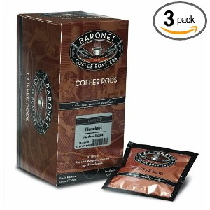Baronet Coffee Hazelnut Medium Roast (12 g) Coffee Pods, 16-Count Pods (Pack of 3)