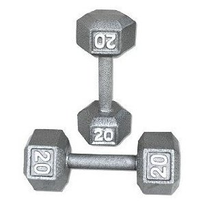 20 lb. Cast Iron Hex Dumbbells (Pair)