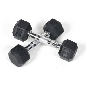 JFit Rubber Coated Hex Dumbbells - 5 lb. Pair