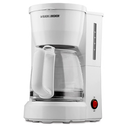 B&d dcm600w white coffeemaker 5cup lighted on off switch