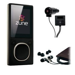 Microsoft Zune 4GB MP3 Player, Black with FREE Microsoft Zune Car Pack & Microsoft Zune Premium Headphone (v2) - Refurbished