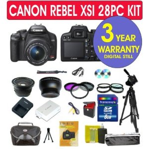 Canon EOS Rebel XSi (a.k.a. 450D) 12.2MP Digital SLR Camera (Black) 28 PCS Kit with Canon 18-55mm IS Lens