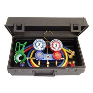 Mastercool Professional R134a Manifold Gauge Set with Free 3-IN-1 Side Mount Can Tap Valve 89660-PRO5