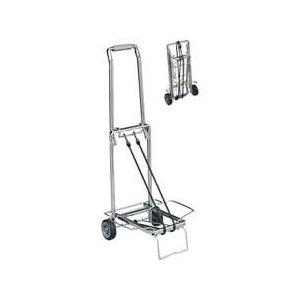 Sparco Compact Luggage Cart, Easy-Grip Handle, Flip-Out Support Platform, 150 lb. Capacity, Chrome