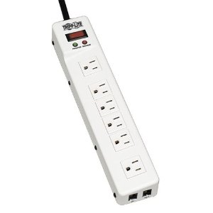 Tripp Lite TLM626TEL15 6-Outlet Surge Protector with Metal Housing (1208 Joules, Tel/DSL)