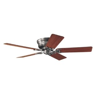 Hunter 20807 Low Profile III 52-Inch Antique-Pewter Ceiling Fan with 5 Walnut/Light-Cherry Blades