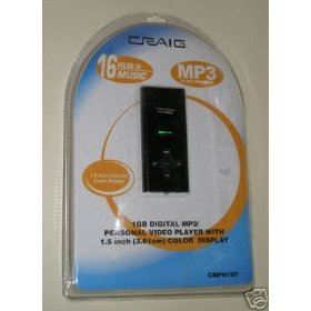 CRAIG VIDEO MP3 PLAYER, COLOR DISPLAY 1GB DRIVE