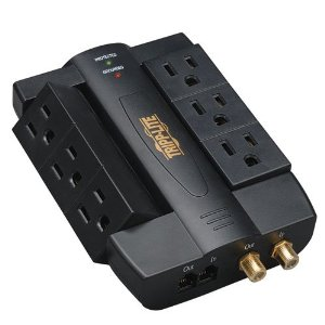 Tripp Lite HTSWIVEL6 6-Swivel-Outlet Home Theater Surge Protector (1200 Joules, Tel/Coax)