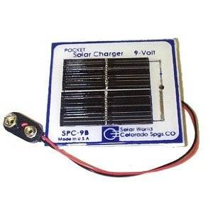 Handy Pocket Solar Charger for 9 Volt Battery
