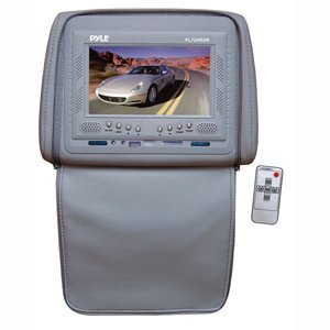 PYLE PL72HRGR Adjustable Headrests w/ Built-In 7'' TFT/LCD Monitor W/IR Transmitter & Cover (Gray)