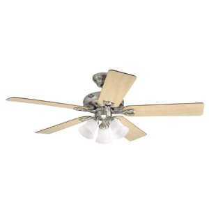 Hunter 23965 The Westlake 52-Inch 5-Blade Ceiling Fan with Maple/Cherry Blades, Brushed Nickel
