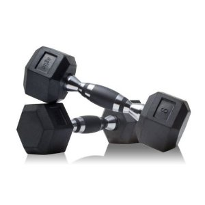 Hex Dumbbell Pairs; Rubber Grip Inlay; Chrome Finish