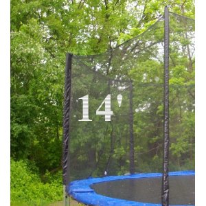 14' (Framed) Trampoline Enclosure Net Covers All 8 Poles with Sleeves, Fits Only 2