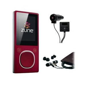 Microsoft Zune 4GB MP3 Player, Red with FREE Microsoft Zune Car Pack & Microsoft Zune Premium Headphone (v2) - Refurbished