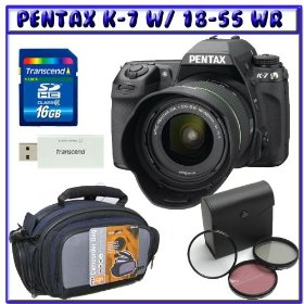 Pentax K7 14.6 MP Digital SLR Camera w/ DA 18-55mm f/3.5-5.6 AL WR (Weather Resistant) Lens + 16GB SDHC + SLR BAG + 52mm Digital Enhancing 3-PC Filter Kit