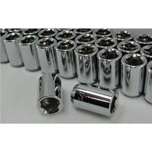 Chrome Tuner Style Hex Lug Nuts, 6 point, Set of 16 Lugs Fitment for Ford Vehicles