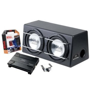 BOSS D125AP Dual 12-Inch 2000W 4-Ohm Bass System Amplified SubwooferEnclosure Install Kit
