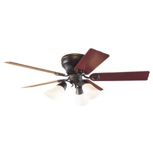 Hunter 21564 The Brunswick Three-Light 52-Inch Five-Blade Ceiling Fan, New Bronze with Cased Globes