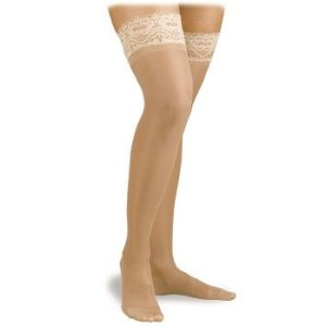 ACTIVA H202 SHEER THERAPY LACE TOP THIGH HIGH OPEN TOE 15-20 MM HG SIZE C NUDE